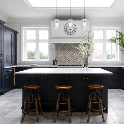 Navy Shaker Kitchen - Black Blue Handmade Kitchen