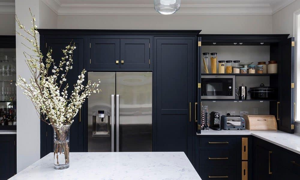 Navy Shaker Kitchen Designed Installed Bespoke Black Blue Kitchens