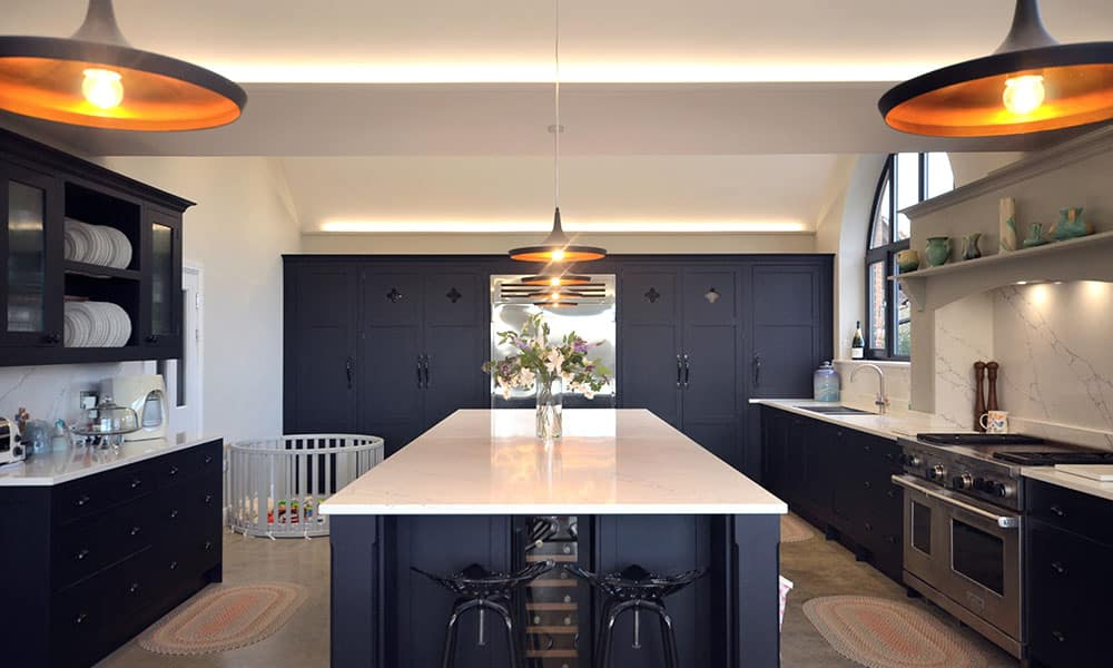 Dark Blue Painted Kitchen with island