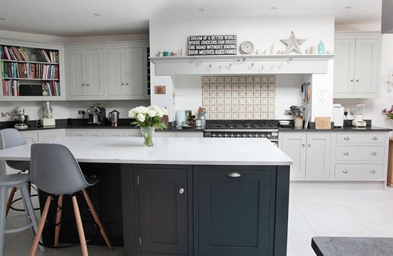 grey kitchen white worktop - modern grey shaker kitchen