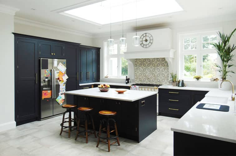 navy shaker kitchen - Bespoke Handmade Black Blue Kitchens