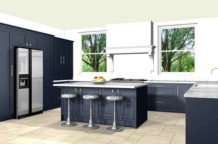 navy shaker kitchen ideas