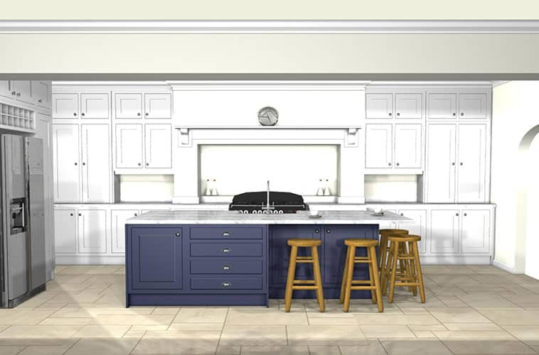 Open plan kitchen designs with island